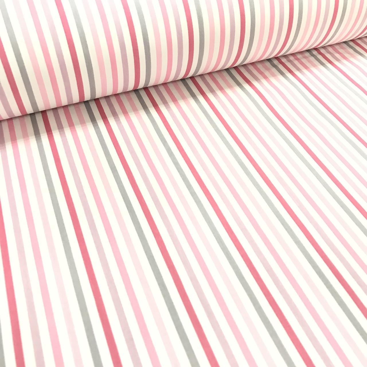 Ткань поплин полоска мелкая серо-розовая (ТУРЦИЯ шир. 2,4 м)