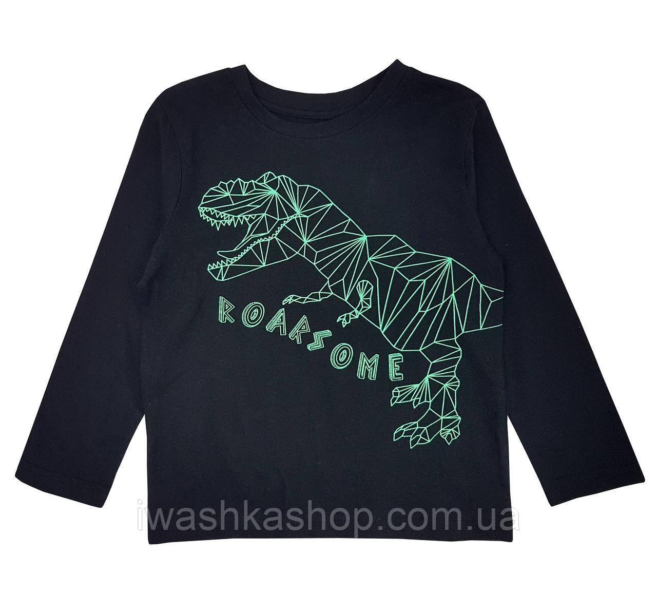 Лонгслив со светящимся в темноте динозавром на мальчика 4 - 5 лет, р. 110, Primark