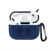 Чехол для AirPods PRO silicone case logo с карабином midnight blue