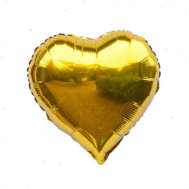 """Кулька повітряний фольга у формі серця """"Золотий"""" 1342"""