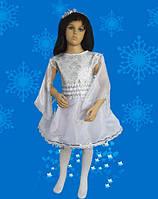 Снежинка белоснежная - платье с парчой. 116-128 см. Детские карнавальные костюмы, фото 1