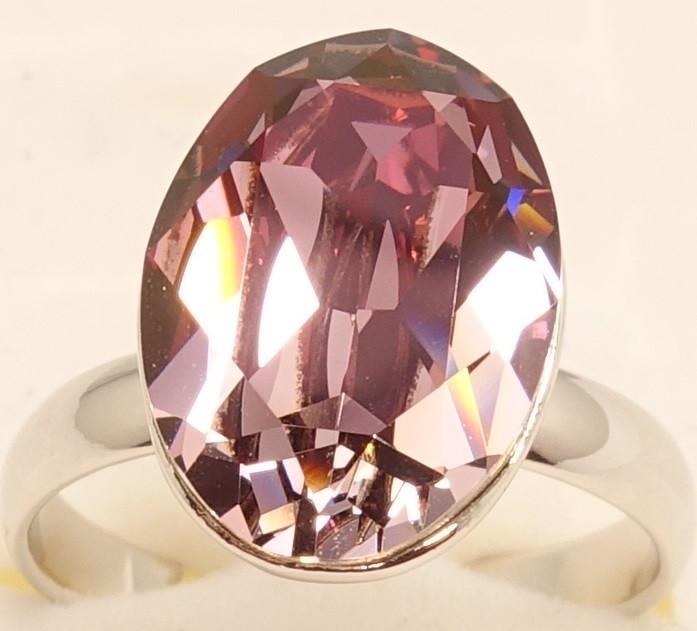 """Кольцо ХР Родий с кристаллами Swarovski """"Граненный кристалл Burgundy"""" р.17-17.5 свободный размер"""