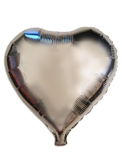 Куля фольгований серце сріблясте без малюнка 1343