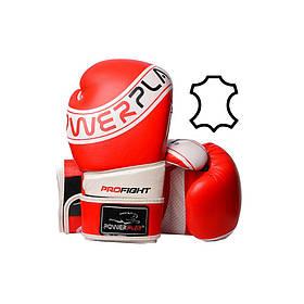 Боксерські рукавиці PowerPlay 3023 A Червоно-Білі [натуральна шкіра] 10 унцій