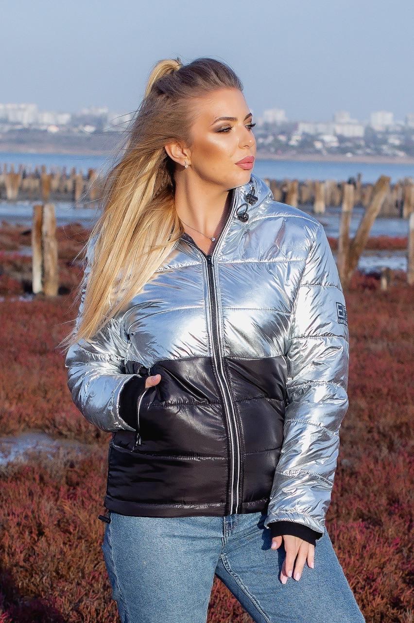 Куртка женская зимняя короткая из плащевки на синтепоне с молнией (К29321)