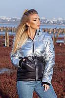 Куртка женская зимняя короткая из плащевки на синтепоне с молнией (К29321), фото 1