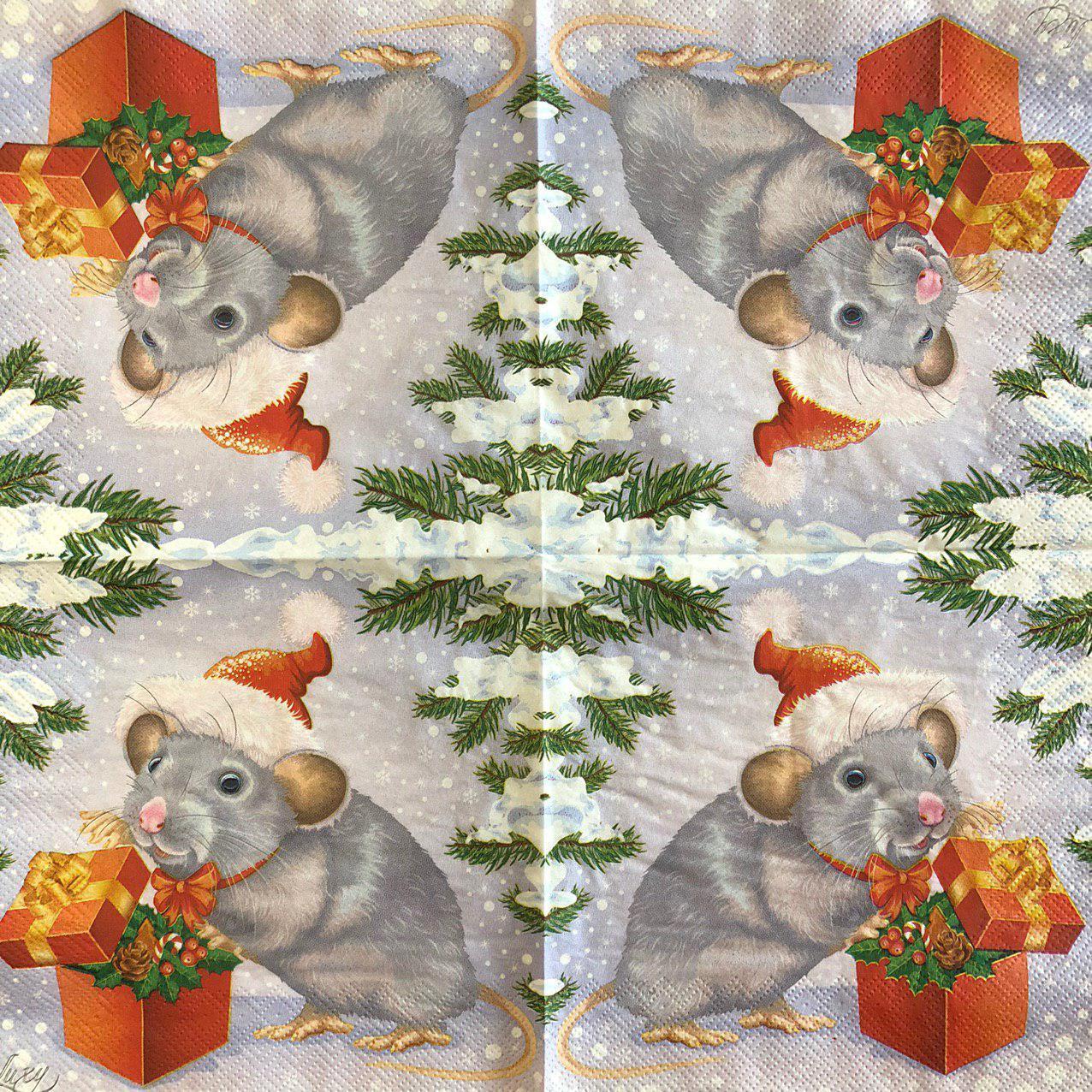 """Салфетка декупажная 33x33 см 28.2 """"Крыса с подарком новогодняя"""" Серветка для декупажу миша"""