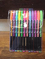 Цветные гелевые ручки 12шт Neon Color (металлик) блестящие