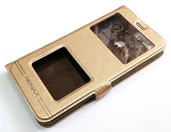 Чехол книжка с окошками momax для Huawei Y6 Prime 2018 / Honor 7A золотой