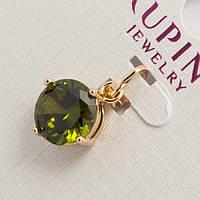 Кулон Xuping G-701 очень красивый оригинальный золотистый с зеленым камнем кристаллом