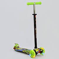 Самокат MAXI Best Scooter Граффити салатовый со светящимися колесами