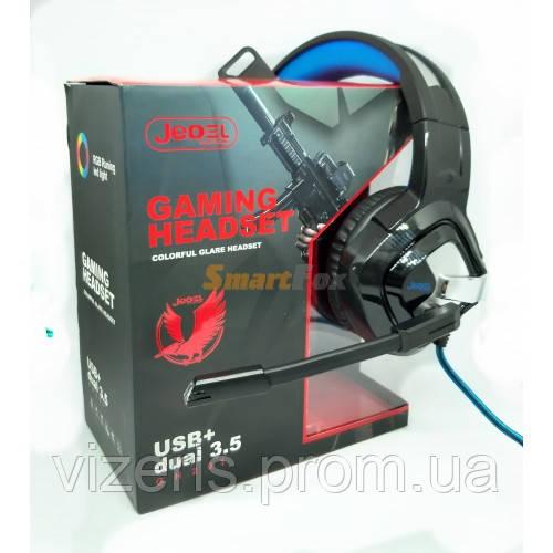 Наушники проводные JEDEL GH201 RGB игровые с микрофоном и подсветкой