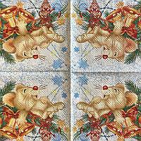 """Салфетка декупажная 33x33 см 28.2 """"Мышь с колокольчиками новогодняя"""" Серветка для декупажу миша"""