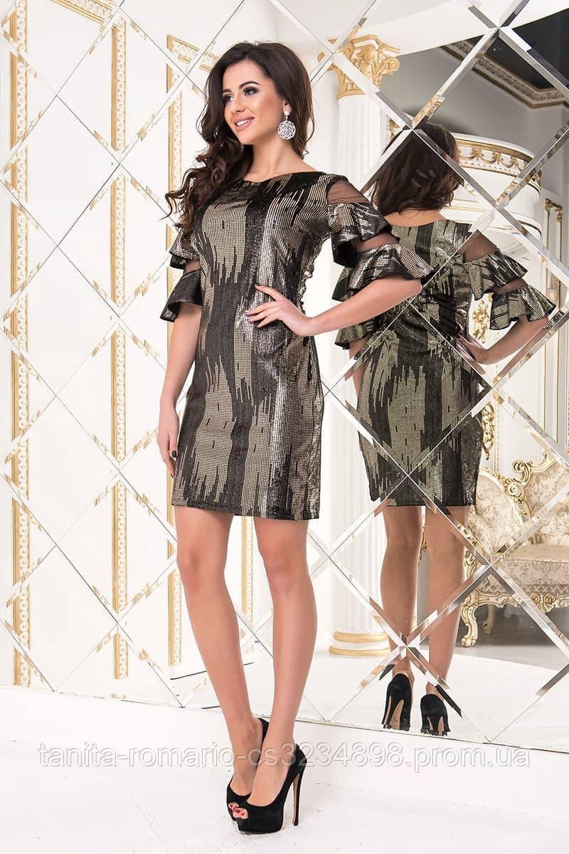 Коктейльное платье 8222 Черно-Золотой