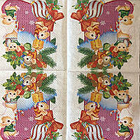 """Салфетка декупажная 33x33 см 28.2 """"Мышки на валенке новогодняя"""" Серветка для декупажу миша"""