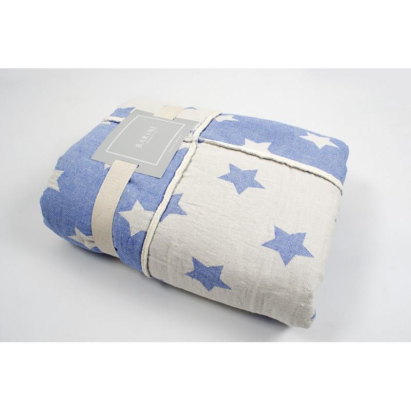 Плед микроплюш Barine - Star Patchwork throw blue голубой 130*170