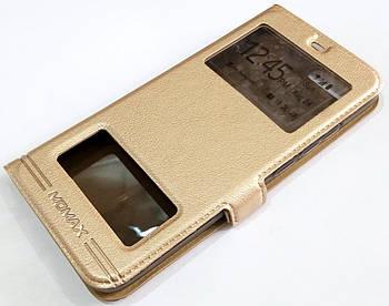 Чехол книжка с окошками momax для Huawei Honor 10 золотой