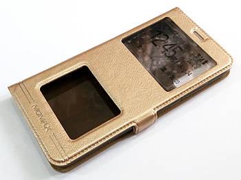 Чехол книжка с окошками momax для Huawei P20 Pro золотой