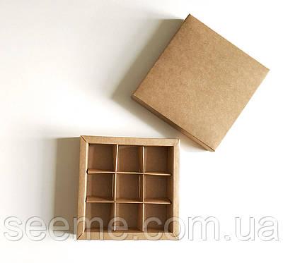 Коробка подарункова із крафт картону для цукерок 145х145х30 мм