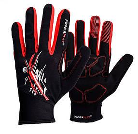 Рукавички для бігу PowerPlay 6607 Чорно-Червоні S
