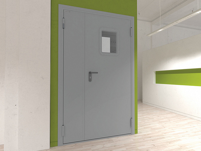Двери DoorHan противопожарные двухстворчатые остекленные DPO60/1250/2050/7035/L/N