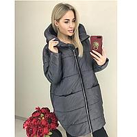 Куртка стильная удлиненная женская зимняя с капюшоном