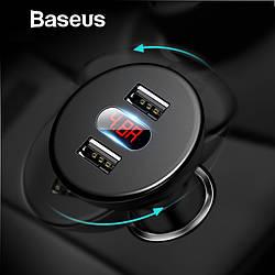 Автомобильное зарядное устройство 2 USB 4.8A 12-24V Baseus Shake-head Digital Display CCALL-YT01 (18061)