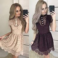 Платье женское вечернее короткое, кружевное, гипюровое, нарядное, шикарное, отрезное расклешенное, фото 1