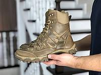 Мужские ботинки из натуральной кожи зимние высокие на шнуровке теплые, обувь мужская на зиму, берцы