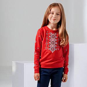 Трикотажный красный свитшот с вышивкой Орнамент цветочный