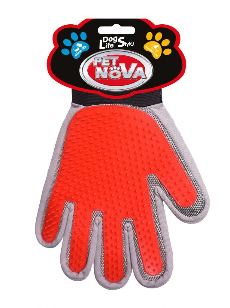 Двухсторонняя перчатка для вычесывания шерсти Pet Nova 2в1, (левая рука)