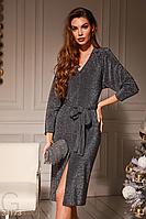 Сияющее новогоднее платье до колен с поясом серого цвета