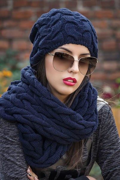 Комплект великої в'язки хомут і шапка колір ЧОРНИЙ