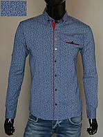 Мужская рубашка приталенная светло-синяя Турция 2325