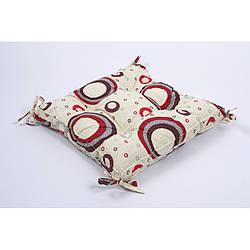 Подушка на стул Lotus 45*45 - Circle с завязками красный