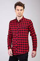 Мужская рубашка утепленная красная в клетку Турция 2477