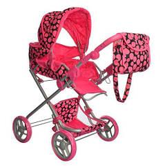 Коляска для куклы Melogo9333/014/9119 pink/black
