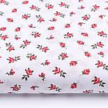 """Лоскут ткани """"Одиночные розочки"""" красные на белом №2212, размер 46*80 см, фото 2"""