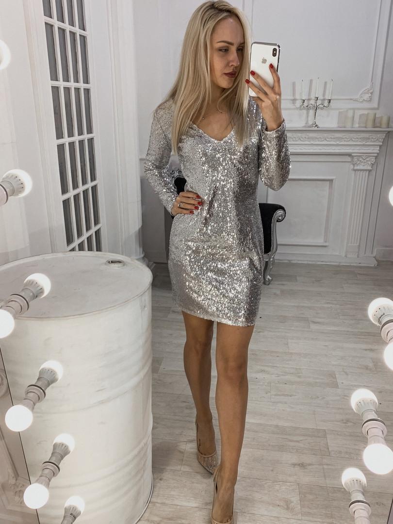 Платье черное пайетки серебро