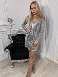 Платье черное пайетки серебро, фото 2