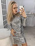 Платье черное пайетки серебро, фото 3