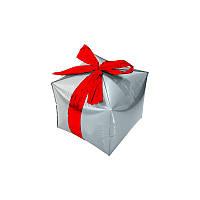 "Шар куб ""Подарок"". Цвет серебро.  Ширина ребра 33 см."