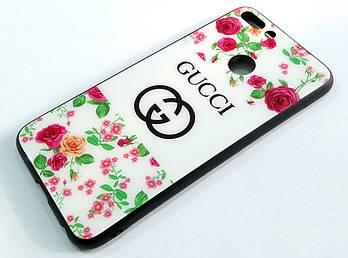 Чехол Glass Case для Huawei Honor 7s / Honor Play 7 стеклянный / TPU с рисунком розы белый