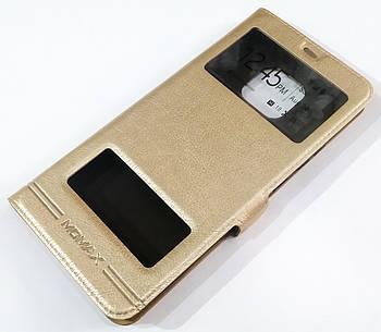 Чехол книжка с окошками momax для Huawei Mate 20 Pro Золотистый
