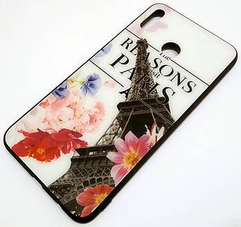 Чехол Glass Case для Huawei Honor 8X Max стеклянный / TPU с рисунком Эйфелева башня