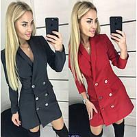 Платье пиджак женское с пуговицами, офисное, стильное, повседневное, длинный рукав, модное, стильное, фото 1