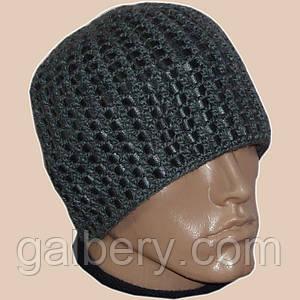 Мужская вязаная зимняя шапка c элементами кожи цвета маренго