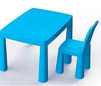 Столик и стульчик ТМ Doloni 2в1 + хоккей, детский пластиковый столик и стульчик-табурет