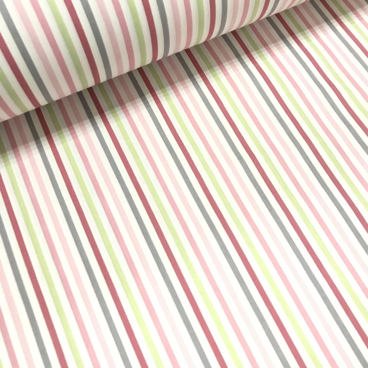 Ткань поплин полоска мелкая серо-зеленая (ТУРЦИЯ шир. 2,4 м)