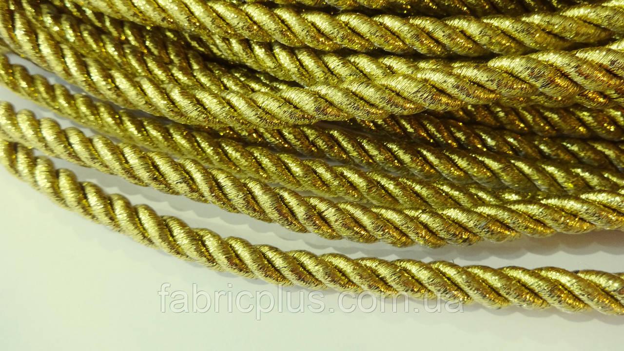 Шнур мебельный 10 мм золото люрекс